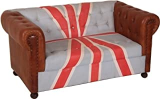 Casa Padrino Chesterfield Luxury Real Leather Sofa Union Jack/Brown 2 Seater Vintage Leather from