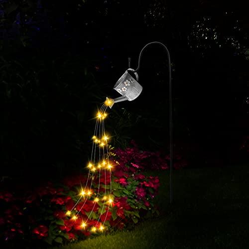 Star Shower Garden Art Light, lámpara de regadera, luces decorativas de hadas con cadena de luces LED impermeables de 39.4 pulgadas con soporte para árboles de Navidad al aire libre, césped
