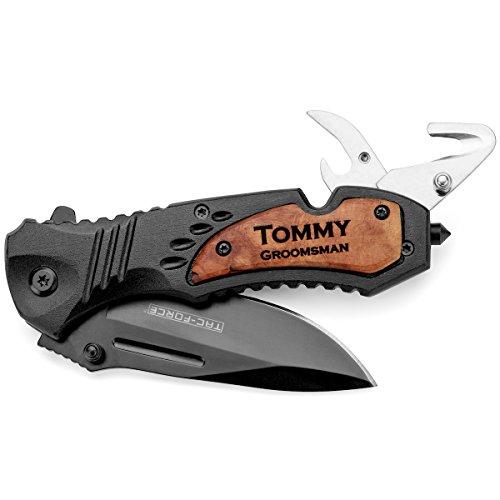 Daylor Engraved Tactical Rescue Knife Seat Belt Cutter Bottle Opener Glass Breaker Pocket Folding Black Blade Custom Personalized