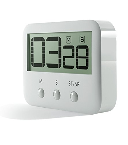 PINGKO - Temporizador digital de cocina, gran dígitos, alarma fuerte, soporte magnético, contador de tiempo y cuenta regresiva (máximo de 99 minutos, 59 segundos), color blanco