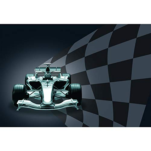 Haoyiyi 7x5ft Car Racing Photography Backdrop Champion Sport 3D Competition Race Track Speed Black and White Grid Chequered Background for Children Boy Baby Shower Birthday Party Photo Studio Props