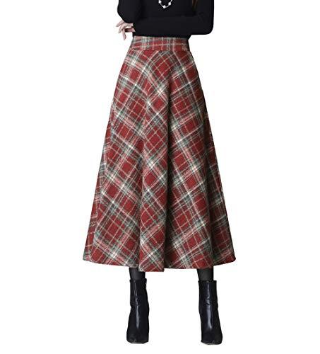 RIZ-ZOAWD Cuadros Rayas Caliente Larga Falda Otoño de Las Mujeres y la Moda de Invierno Elegante Falda de Lana de Alta Cintura Maxi A-Line Cintura elástica Falda Plisadanaranja roja 25-XL