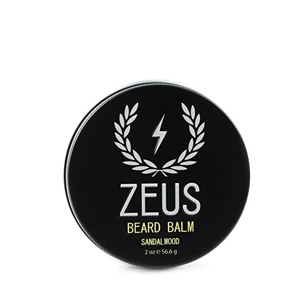 ZEUS Conditioning Beard Balm for Men - 2 Oz - Natural Softening Conditioner for Facial Hair (SCENT: Sandalwood) 1