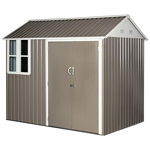 Outsunny 8 x 6 ft Corrugated Metal Garden Storage Shed w/Double Door Window Sloped Roof Outdoor Equipment Tool Storage Garden Grey