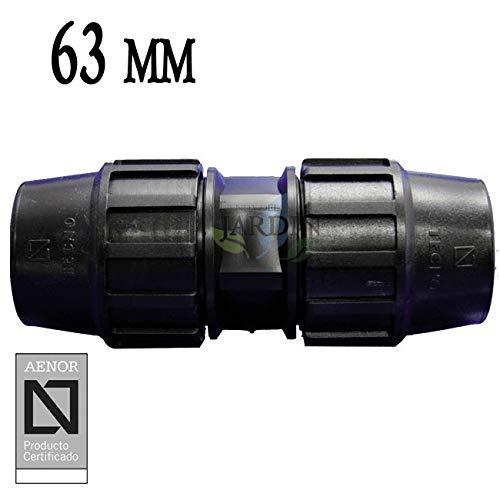 MANGUITO ENLACE POLIETILENO 63MM. Producto con certificado AENOR utilizado en tuberías PE 63 mm para uso fontanería, riego y obras.