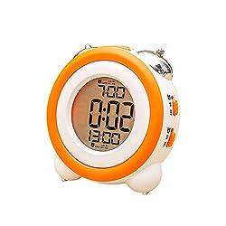 Big Orange Loud Metal Twin Bell Light Alarm Clock,4 Modern Digital Time Wake Up Alarm Clock for Heavy Sleepers Or Girls(Orange)