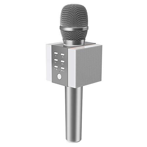 TOSING 008 Micrófono de Karaoke Inalámbrico Bluetooth, Potencia de Volumen Más Alta 10W, Más Bajo, 3-en-1 Máquina de Micrófono Portátil de Altavoz Portátil para Android/PC (sliver)