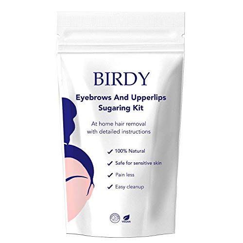 Birdy Facial Hair Waxing Kit for Upper Lips Chin and Eyebrows - at Home Easy Facial Hair Remover Strips for Women (50gm)