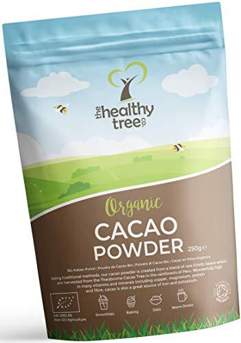Cacao Crudo Orgánico en Polvo de TheHealthyTree Company para Yogur, Batidos y Repostería - Alto Contenido de Proteínas, Magnesio, Fibra y Potasio - Sin Azúcar, Polvo de Cacao Vegano (250 g)
