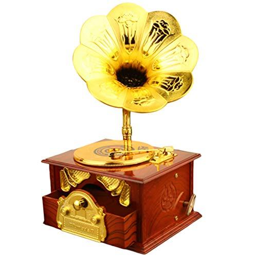 fuchsiaan Mini simulation phonographe rétro - Meuble miniature - Jouet - Décoration de bureau - Marron doré