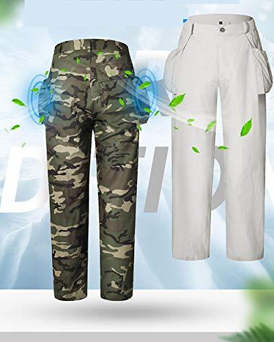 Wenhu Aire Acondicionado refrigeración Traje pantalón Casual de fábrica al Aire Libre, Ropa de Trabajo de los Hombres Adultos, Trajes de Verano de la Ropa Ventilador,Blanco,185