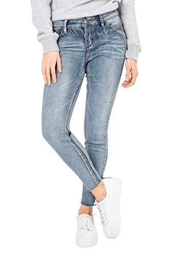Sublevel Damen Skinny Jeans-Hose mit offenem Saum Middle-Blue S