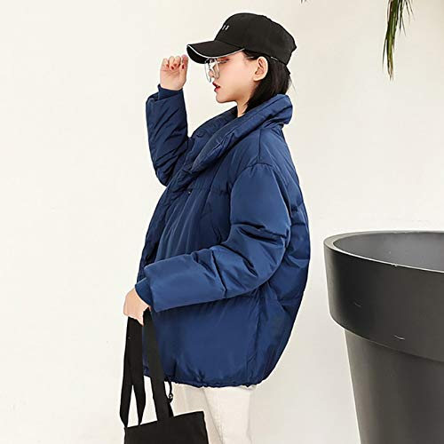 SWAQS dames donsjack Parka 2019 winterjas New Women Loose Bread Suit Jacket Klein mantel dik L blauw