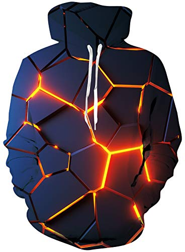 Loveternal 3D Druck Kapuzenpul Geometrie Hoodie Langarm Fleece Pullover Geometry Sweatshirt für Teen Jungen Mädchen L