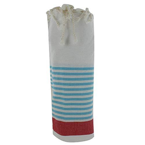LES POULETTES Toalla de Playa o Hamman Fouta Algodón Color Blanca Banda Roja Pequeñas Rayas Turquesa 100 x 200cm