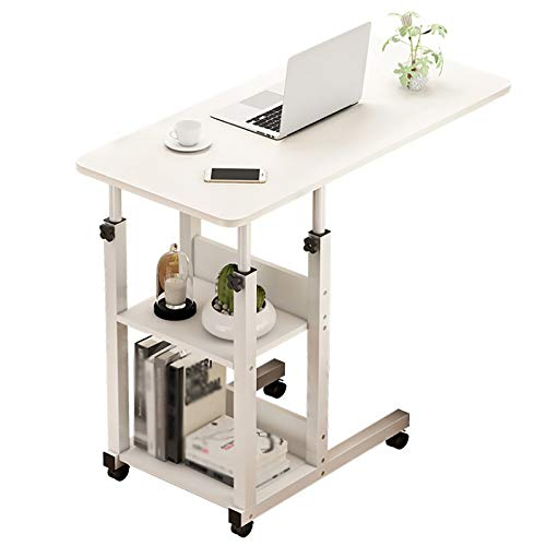 XIAOPENG Standing Desk Computer Desk for Home Sit to Stand Desk Height Adjustable Bedside Table Riser Workstation with Wheels Multi-layer Storage