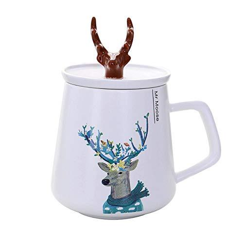 Tazza da caffè in Ceramica Modello Cervo Tumbler Milk Tea Cup con Coperchio per Gli Amanti