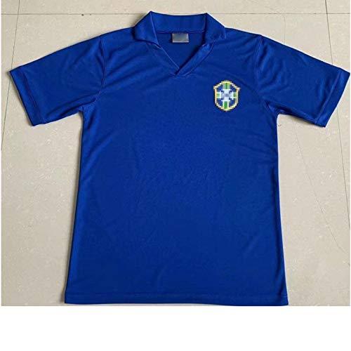 MFFZHJ 1957/58 Jersey de fútbol Retro Adecuado para Brasil Inicio O Rei Do Futebol Pelé Garrincha Jersey de fútbol, Número de Encargo y Nombre, Camiseta de la Ropa Deport Blue-S