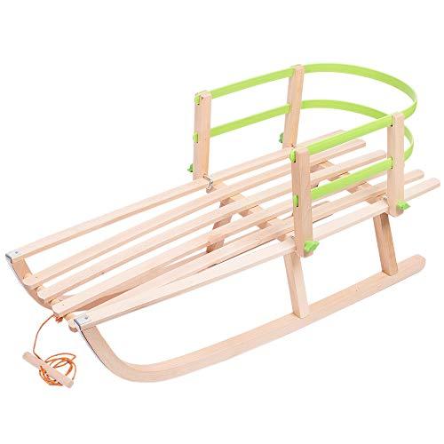Holzschlitten Kinderschlitten aus Buchenholz Kunststoff Rückenlehne inkl. Zugseil Schlitten Lehne Schieber Metallkufen