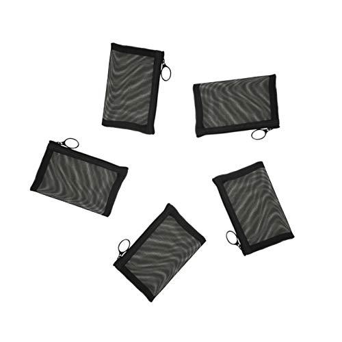 Patu Mini Zipper Mesh Bags, 3' x 4', Size XS / A8, 5 Pieces, Keychain Pouch Key Holder, Coin Purse,...