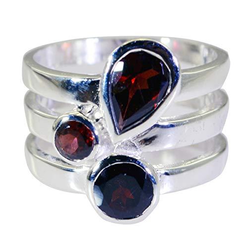 joyas plata schöner edelstein multi form drei stein facettierte granatringe - 925 silber rot granatring - januar geburt steinbock astrologie schöner edelstein ring