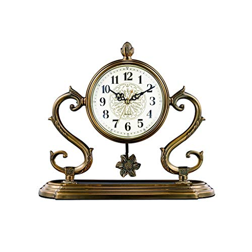 jinyi2016SHOP Table Clock 13.8 Inches/living Room, Study Room/home Fireplace Clock/desk Pendulum Clock/bedroom Table Clock/silent Movement, Retro Desk Clock