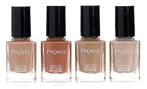 Pronto Neutral Collection, 4 Pieces Color Set – Long Lasting, Quick Dry Nail Polish (11.5 ml/0.40 fl oz ea.) (Stay Naked Stay Nude)