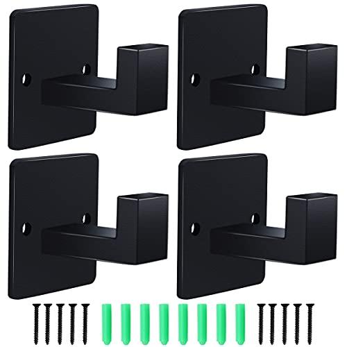 4Pcs Black Towel Hooks Rustproof Robe Hooks for Hanging Coats Heavy Duty Modern Square Style Wall Mounted Hook for Bathroom, Kitchen, Bedroom