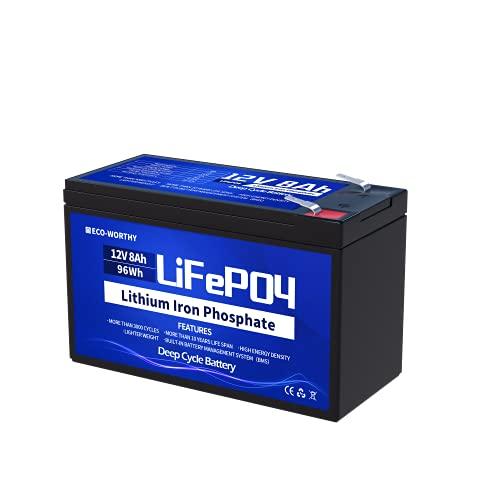 ECO-WORTHY 8Ah 12V Batería de Litio Ciclo Profundo 3000 Veces Recargable fosfato de Litio y Hierro LiFePO4 con BMS para Coche de Niños,Stock de Energía Solar,Alarma Sistema, Aplicación Fuera de la Red