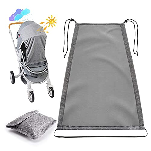 Universal Sun Shade for Pram,with UV Protection Cover 50+(Grey) Waterproof -Pram Sun Shade/Baby Stroller Sun Cover for Pushchair, Buggy, Stroller and Carrycot