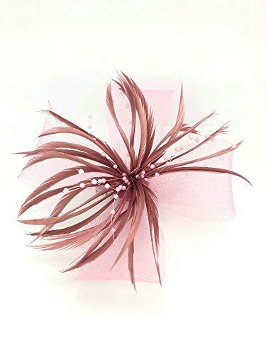 Différentes formes 3D ® Vieux Rose à pince bec Bibi avec plume chapeau Mesdames Jour Royal Ascot mariage