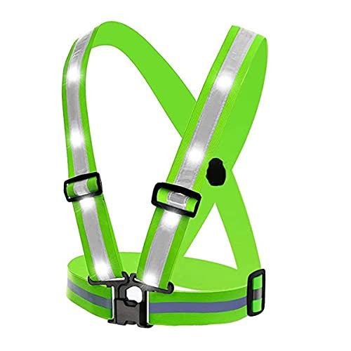 Chaleco de seguridad reflectante de alta visibilid Cinturón de chaleco reflectante deportivo al aire libre de ciclismo, 3 modos de luz Chaleco de seguridad ajustable, ciclismo de carrera nocturna chal