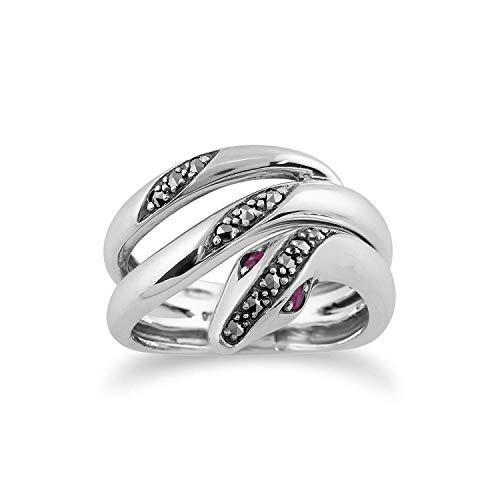 Gemondo Jugendstil Ring 925 Sterlingsilber 0,06 Karat Rubin & Markasit Schlange Ring