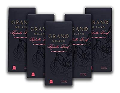 Grano Milano Decaffeinated Coffee Capsules | Ristretto Decaffeinated | Nespresso* Compatible Pods | 100% Pure Roasted Ground Coffee | Intensity 10 | Spices, Citrus & Heavy Body | 50 Pods