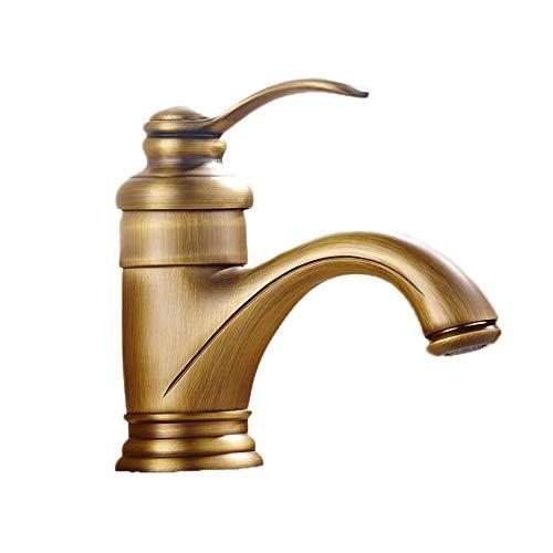 Yughb Küchenarmatur Waschbecken Wasserhahn Waschtischmischer Tap, Alle Kupfer Antik-Hahn europäischen Becken Teekanne-Hahn-Wasserfall-Hahn heißes und kaltes Wasser
