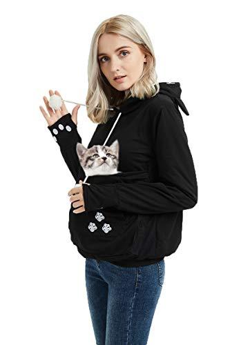 Women Plus Size Hoodies Long Sleeve Sweatshirt Big Pouch Känguru Beutel Träger Pullover Black XL