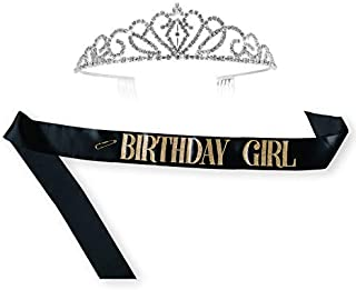 Black Birthday Sash And Tiara For Women With Gold Glitter Birthday Girl Lettering | Perfect For Photo Booth Party Supplies, Favors, Decorations, Accessories. Look Fabulous On Your Special Day