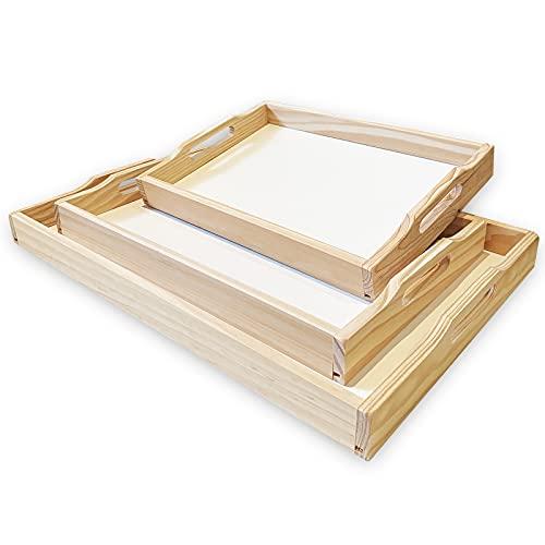 SET 3 Bandejas para servir comida de madera natural rectangular. Bandeja perfecta para desayuno en cama, cocina o sofa.
