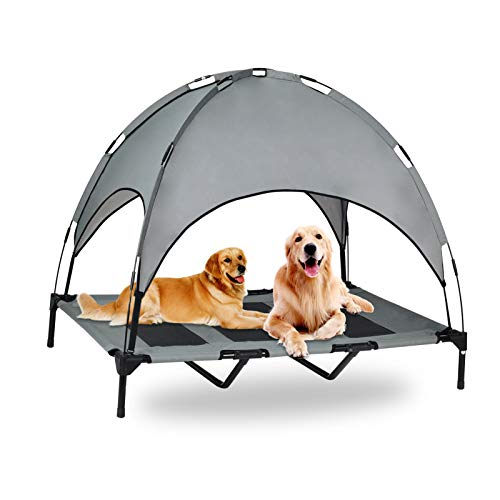 OLSAGO Elevated Pet Cot with Canopy, Portable Raised Pet Cot for Camping or Beach, Removable Canopy, Durable 1680D Oxford Fabric Raised Mesh Cot, Breathable Cooling Outdoor Dog Bed (Large, Grey)