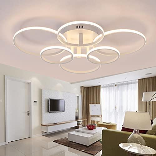 Lámpara LED de techo regulable con diseño moderno de anillo para decoración de salón, mesa de comedor, lámpara colgante para dormitorio, pasillo, cocina, oficina, lámpara de lectura con a distancia