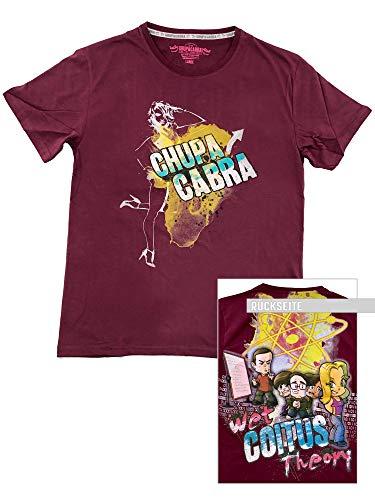 Chupacabra Original Comic T-shirt: Wet Coitus Theory - Cranberry - Funny XL frontdruk en XXL rugdruk - Casual en aangenaam - Brazil Kick Ass Industries