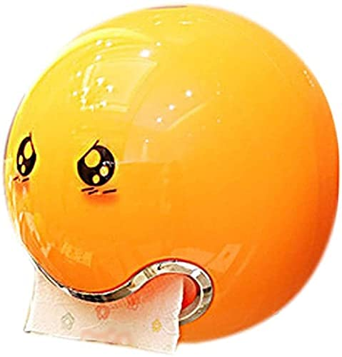 Caja de Tejido Decoración de Bola en Forma de Bola Caja de Tejido Baño Aseo Impermeable Caja de Papel Creativo Sonrisa Cara Rollo de Papel (Color : Orange, Size : 1)