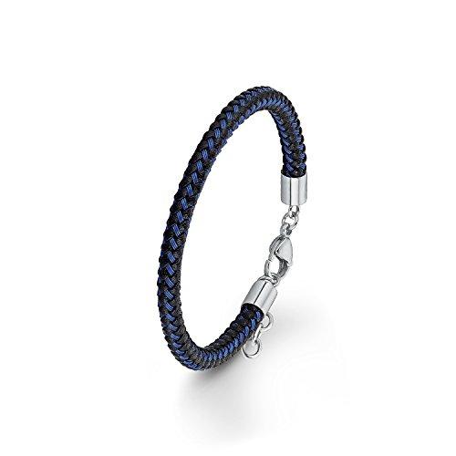 s.Oliver Herren-Armband lackiert Edelstahl Leder 22 cm - 566735