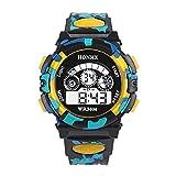 Liquidación! Scpink Reloj para niños, camuflaje exterior multifunción impermeable deportes relojes de pulsera electrónicos cronómetro (Amarillo)