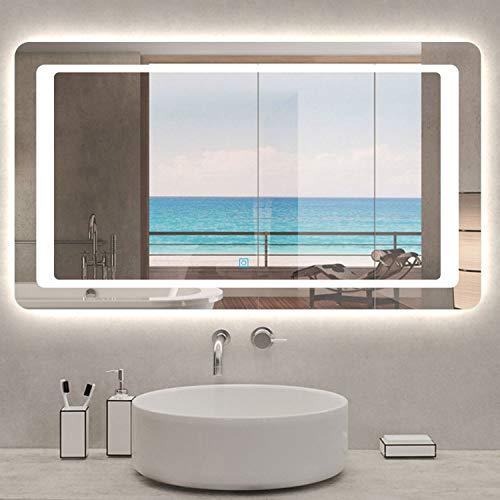 Xinyang Miroir pour Salle de Bain 120x70 cm, Illumination LED, éclairage intégré, avec Fonction Anti-buée, lumière Blanche Froide
