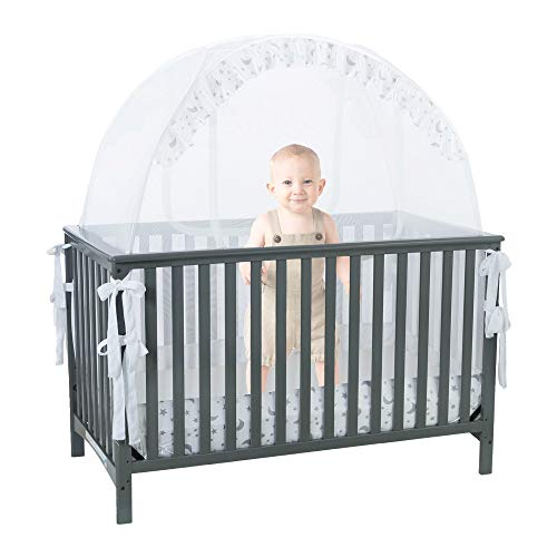 Baby Crib Safety Pop up Tent: Premium Baby Bed Canopy Netting Cover - See Through Mesh Top Nursery Mosquito Net - Stylish and Sturdy Unisex Infant Crib Tent Net - Protect Your Baby from Falls and Bite