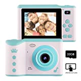 NAKAWU Kids Camera, Digital Camera for Kids Aged 3-10, Rechargeable Children Camera with 32GB Memory Card, HD 2.8Inches Touch Screen Camera Gift for Boys and Girls, Blue