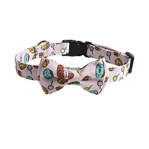 WDM Collar para perros, collar para perros Bowknot, serie de donuts para pizza, tres tamaños disponibles