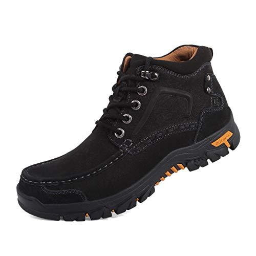 Botas de Senderismo para Hombres,Trabajo al Aire Libre Caminando Botines Fuera de la Carretera Lindo de Felpa Zapatos Deportivos de Ocio, Black A- 39/UK 6.5/US 7