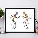 Póster de anatomía humana, huesos de baile, divertidos estampados médicos, regalos, obsequios para ortopedistas, arte colorido, pintura en lienzo, decoración de pared clínica, 40x50 cm / sin marco